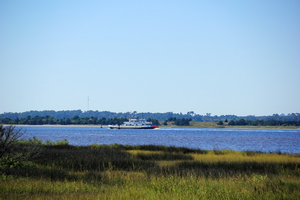 Fort Fisher Ferry heading to South Port, just after leaving the ferry docks at Fort Fisher