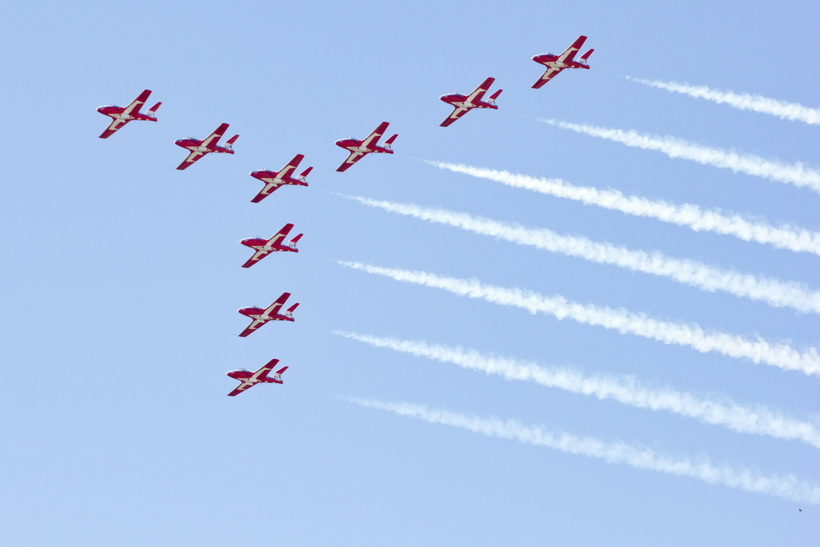 The Snow Birds come across the sky to the start of their part of the CNE 2012 Labour Day Weekend Air Show.