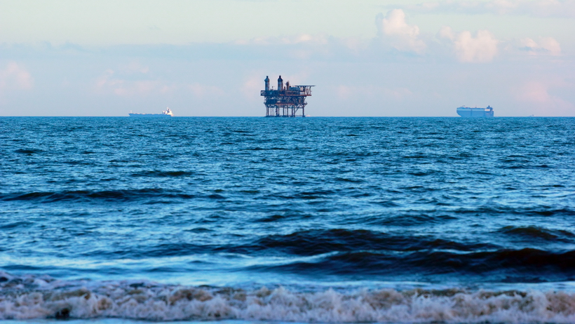 Oil rig viewed from the beaches of the Bolicar Peninsula, Texas