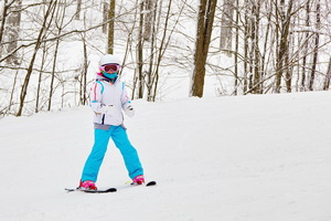 Grand Daughter out for a day skiing with us.