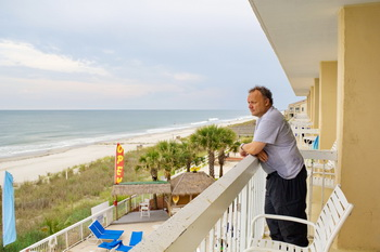 Arriving to Surfside Beach, Holiday Inn for Bike Week 2012 with an ocean view room.