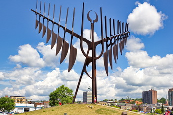 Downtown Barrie, ON, the Spirt Catcher, during Promenade Days, 2012.