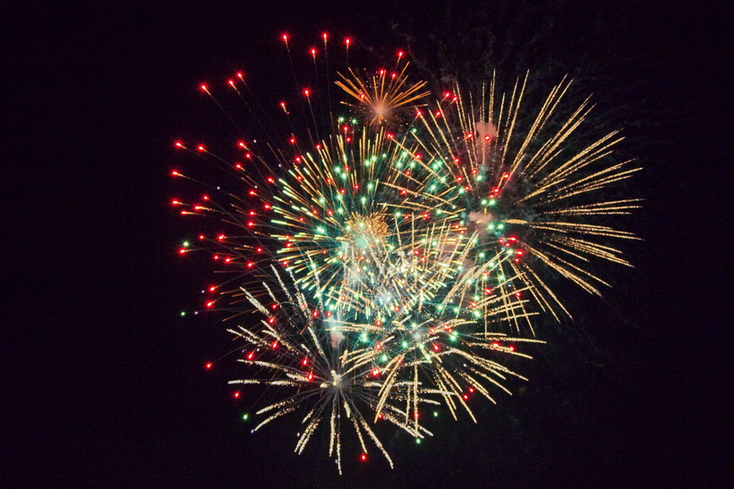 Fireworks at Midland, ON, Canada for Canada Day 2012.