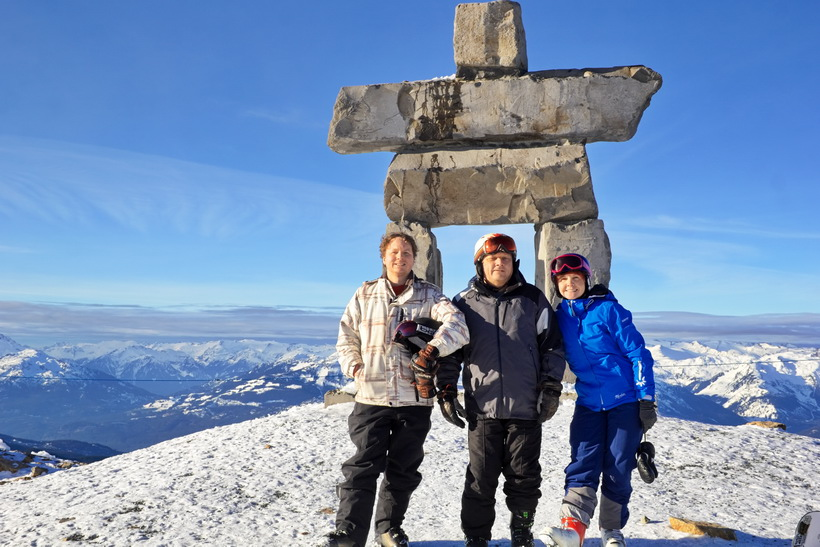 Photo op at the top of Whistler peak with the inuksuk.
