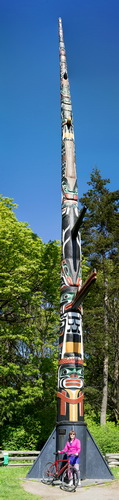 World's tallest free standing totem pole on Vancouver Island, along one of the bicycle paths in Victoria, BC.