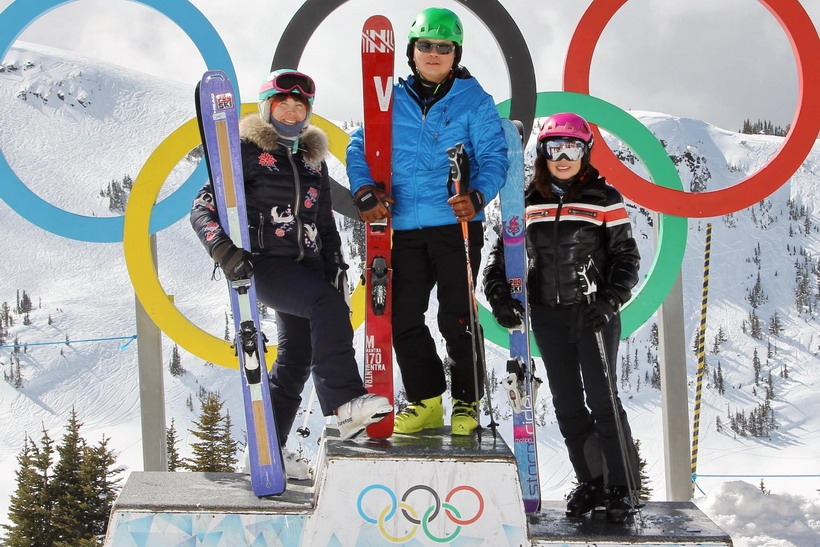 The Whistler Olympic Rings with friends.