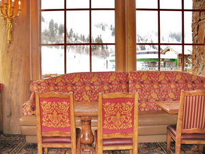 Cozy couches to curl up on while you sip hot chocolate in the lodge.