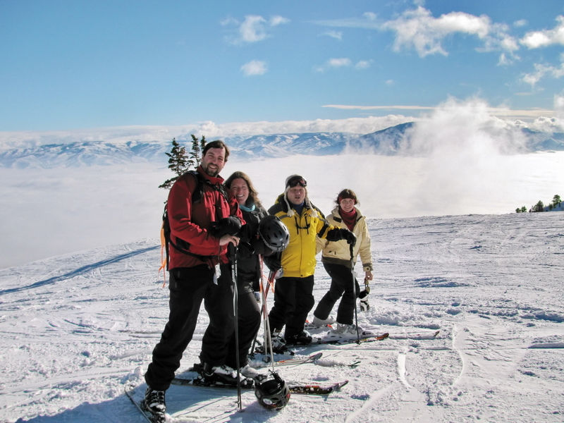 Matt, Lily, Robin, Myself at part way down the hill at Snow Basin, Utah, heading over to Strawberry Express Gondola from above the clouds.