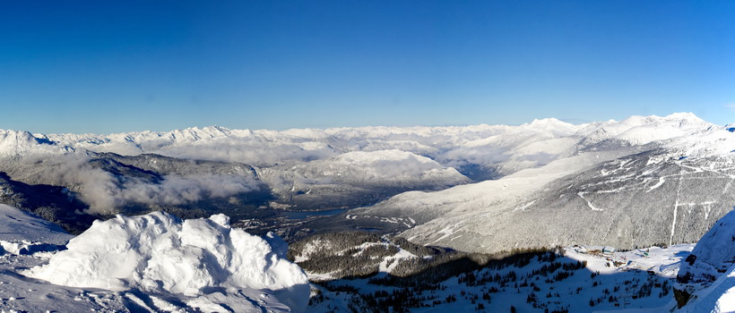 Panorama from the top of Whistler Peak on Whistler Mountain.